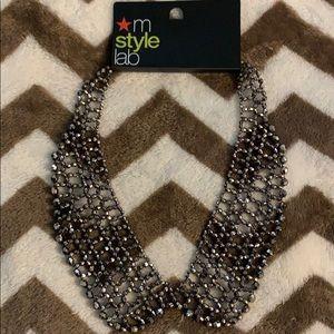 Women's metallic gray necklace